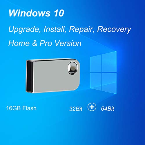 ILamourCar USB Compatible with Windows 10 Home&Professional 32&64 Bit, Recovery Repair Reinstall Clean Reboot Restore Fix Update Bootable 16GB Flash Drive for Desktop&Laptop Mini Size -Silver