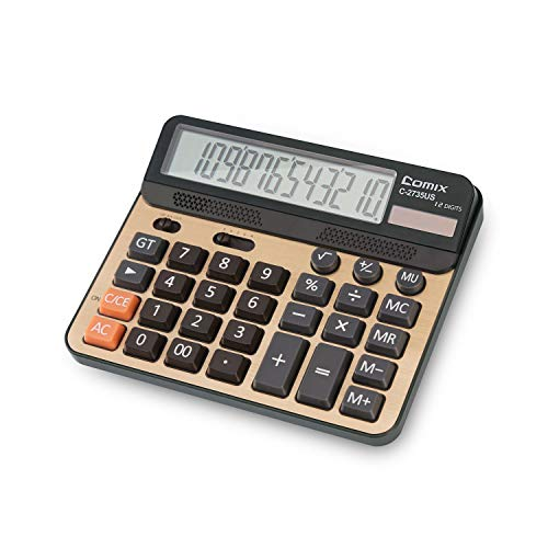 Calculator 12 Digits LCD Display Standard Function Desk Calculators with Large Computer Keys Dual Powered Solar Office Calculator Champaign Gold Color Panel for Handheld for Daily and Office
