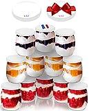12 Vasos yogurtera de cristal con 24 tapa plastico hermetico sin BPA-botes vaso para máquinas de yogur-multicocina-Tarros de Conservación para Bebé-143ml/125g