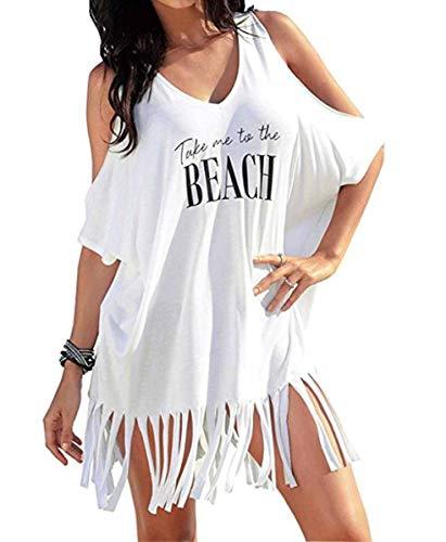 Vestido de Playa Mujer Camisolas y Pareos Trajes de baño borlas Playa Cubrir Blusas Chales Bikini Cover ups Borla Camisola Playero Ropa Verano Vestido Blanco