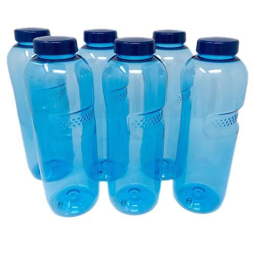SAXONICA Trinkflasche aus Tritan 6 x 1 Liter ohne Weichmacher BPA frei (Bisphenol A frei) für Wasser, Milch oder Saft