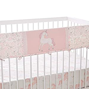Levtex Baby – Colette Rail Guard- Unicorn – Pink, Grey and White – Nursery Accessories – Fits Long Side of Crib
