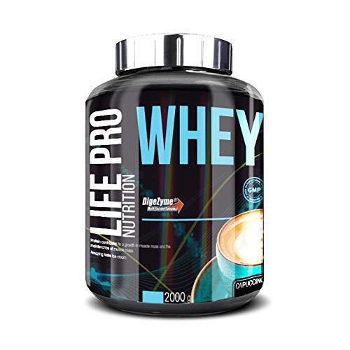 Life Pro Whey 2Kg | Suplemento Deportivo, 78% Proteína de Concentrado de Suero, Protege Tejidos, Anticatabolismo, Crecimiento Muscular y Facilita Períodos de Recuperación, Sabor Capuchino