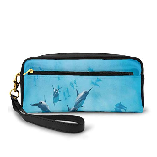 Pencil Case Pen Bag Pouch Stationary,Group of Dolphins in Hawaii Wildlife Underwater Animals Tropical Aquatic Nature Picture,Small Makeup Bag Coin Purse