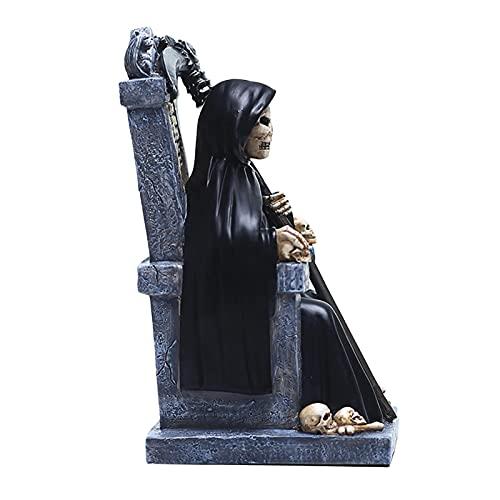 Decoración de estatua de Halloween Reaper, resina pintada a mano Decoración de Halloween Reaper, Thriller Mood Maker en Halloween, apariencia realista y de suspenso, para fiesta de terror en casa Drxx