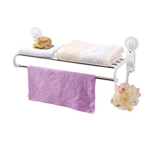 LIYONG Handtuchschienen Multifunktionale Badezimmerregal Badezimmer Wand-One-Schicht mit Haken und Container Aufbewahrungsregal HLSJ