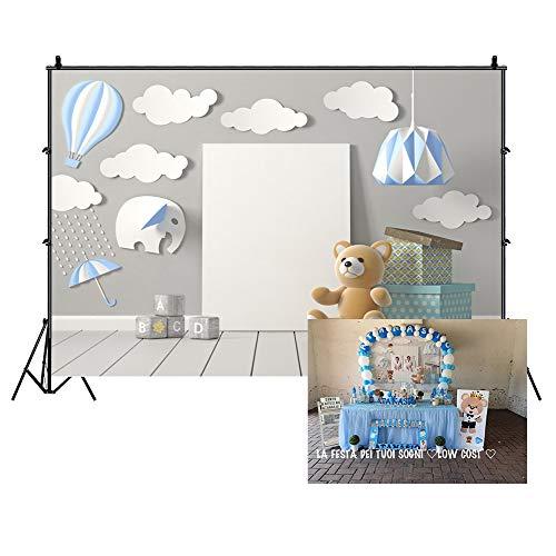 Cassisy 2,2x1,5m Vinilo Fondo de Fotografia Tema de cumpleaños Recién Nacido Chico Bebe Dibujos Animados Decoración Interior Oso Telón de Fondo Photo Booth Infantil Party Niños Photo Studio Props