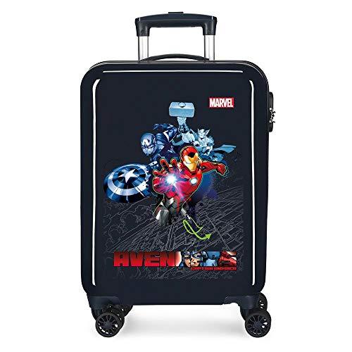Marvel Los Vengadores Avengers Armour Up Maleta de Cabina Azul 38x55x20 cms Rígida ABS Cierre combinación 34L 2,6Kgs 4 Ruedas Dobles Equipaje de Mano