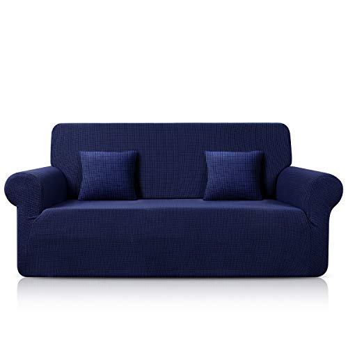TAOCOCO Sofa Überwürfe Jacquard Sofabezug Elastische Stretch Spandex Couchbezug Sofahusse Sofa Abdeckung in Verschiedene Größe und Farbe (Dunkelblau, 3-sitzer(180-230cm))