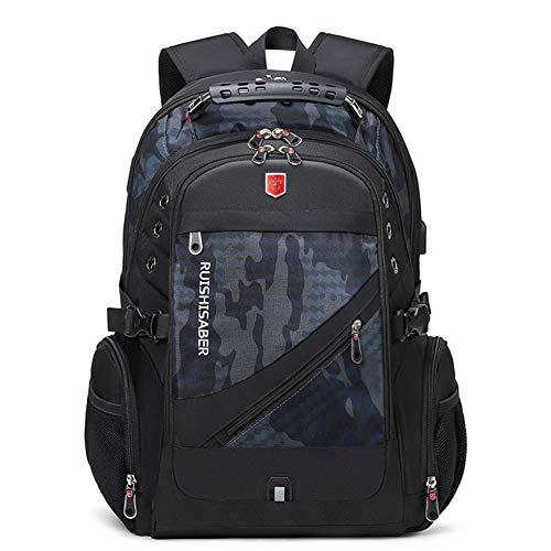 EggshellHome Oxford Swiss 17-Zoll-Laptop-Rucksack USB-Lade wasserdichte Reise Männer Und Frauen Rucksack,Camouflagegray,17inch