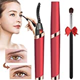 Heated Eyelash Curler, Electric Eyelash Curler, Rechargeable Quick Heating & Long Lasting Curled Eyelashes Painless Curved Beauty Make Up Tool (Red)