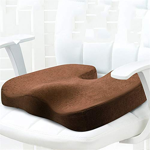 Reisesitzkissen,Sitzkissen Big Chair Kissen orthopädische Kissen Stuhlkissen Rücken Memory Foam Lower Low Back Pain Taille Kissen Lenden Massage-Kissen (Color : Coffee Coccyx Pillow)
