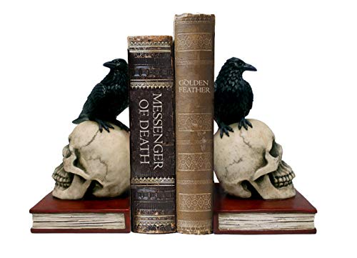Skull and Raven Bookends
