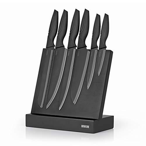 N8WERK Messerset & Messerblock in der Midnight Edition | 7-Teilig | Ergonomische Griffe, Edelstahl-Klingen | Messerblock aus Holz mit magnetischer Oberfläche