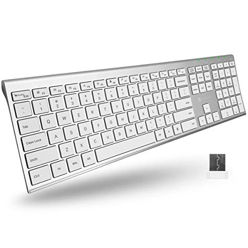 X9 Performance Wireless Keyboard for Laptop and Desktop PC | Rechargeable 2.4G Computer Keyboard Wireless - Elegant Low Profile Keyboard with 110 Silent Keys, 20 Shortcuts, and Keypad - Aluminum