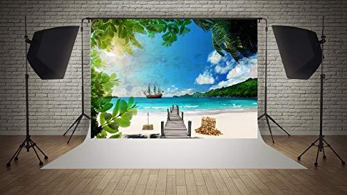 WAWEI Fondo de fotografía Pirata Barco Playa Fondo niño cumpleaños Fiesta decoración Accesorios