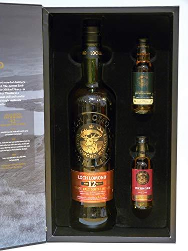 LOCH LOMOND 12y.o.+ 2 MINIATUREN INCHMOAN/INCHMURRIN - Single Malt Whisky 46% Vol 1x0,7L+2x0,05L