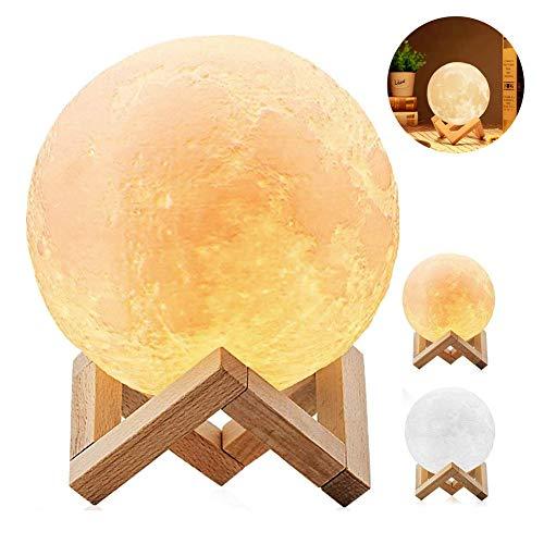 ATRNA Vloerlamp, 3D-maanlamp, nachtlampje, dimbare touch-lamp voor slaapkamer, woonkamer, babykamer Medium
