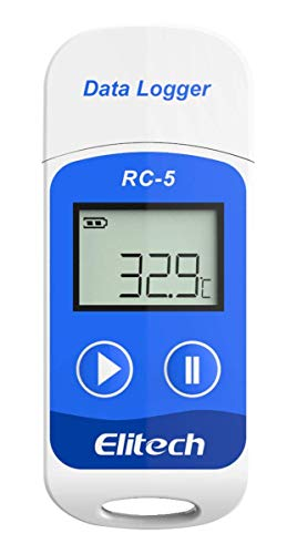 Elitech RC-5 Temperatur Datenlogger - Mini USB Temp Rekorder Interner Externer Sensor Hohe Genauigkeit Temperatur Data Logger 32000 Punkte Record Wasserdicht nach IP67 für Lager Labor und Hause usw