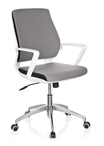 hjh OFFICE 719210 Bürostuhl ESTRA Stoff Grau/Weiß moderner Drehstuhl Schreibtischstuhl gepolstert, ergonomische Rückenlehne