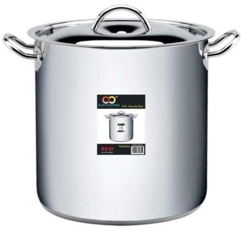 CONCORD Stainless Steel Stockpot Tri-Ply Bottom Commercial Brew Kettle Heavy Duty (80 Qt)