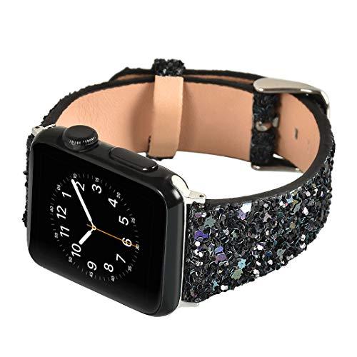 Für Apple Watch Armband 38mm, Rosa Schleife Apple Watch Series 3 Uhrenarmband Glitzer Leder Bands Shiny Ersatzband mit Schließe für Apple Watch 38mm alle Version Schwarz