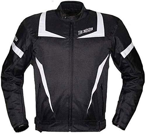 BI ESSE Giacca Moto Touring UOMO Sport Tessuto, Protezioni CE, colore Nero-Bianco, Impermeabile Regolabile, fodera termica (NERO/BIANCO, 3XL)