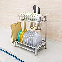 IVHJLP 食器洗い機乾燥棚、シンクトップの棚シンクステンレススチールディッシュラックドレインラックプールストレージ台所用品ラック、シルバー (Size : A)