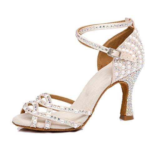 MGM-Joymod Damen Comfort Cross Strap Satin Strass Perle Peep Toe Salsa Tango Latin Modern Hochzeit Ballsaal Tanzschuhe, Beige - Beige 9 cm Absatz - Größe: 38 EU