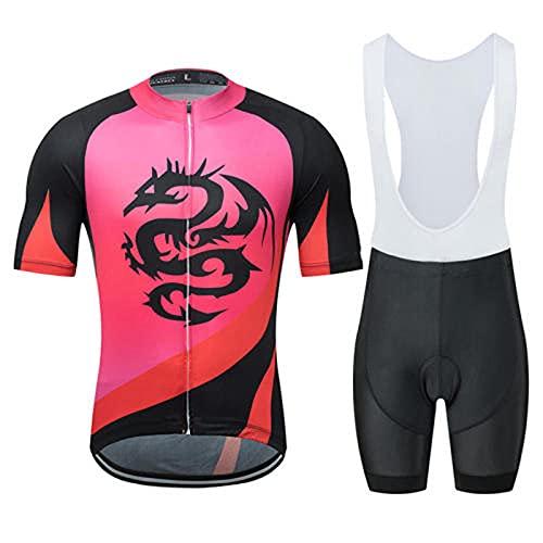 HXTSWGS Ropa Ciclismo Verano para Hombre Ciclismo Ropa,Traje de Ciclismo de Verano, Pantalones Cortos de Tirantes de Manga Corta, Servicio de Bicicletas-A_XL