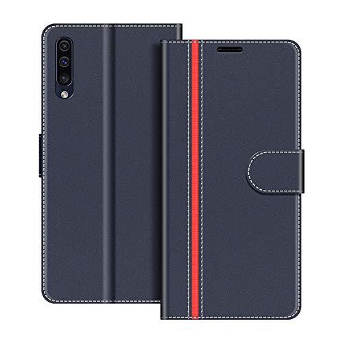 COODIO Handyhülle für Samsung Galaxy A50 Handy Hülle, Samsung Galaxy A50 Hülle Leder Handytasche für Samsung Galaxy A50 Klapphülle Tasche, Dunkel Blau/Rot