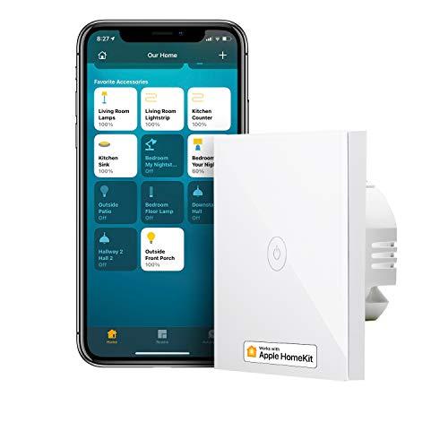 Smart Lichtschalter kompatibel mit HomeKit, meross WLAN Wandschalter, 1 Way 1 Gang benötigt Nullleiter, kompatibel mit Siri, Alexa, Google Home und SmartThings, 2,4 GHz