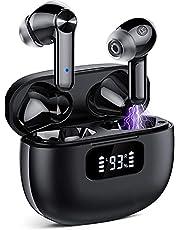 Bluetooth-hörlurar, trådlösa hörlurar Bluetooth 5.1, kraftfull bas, 40 timmars speltid med laddningsfodral, IPX7 vattentäta, hörlurar lämpliga för arbete, spel och sport (svart)