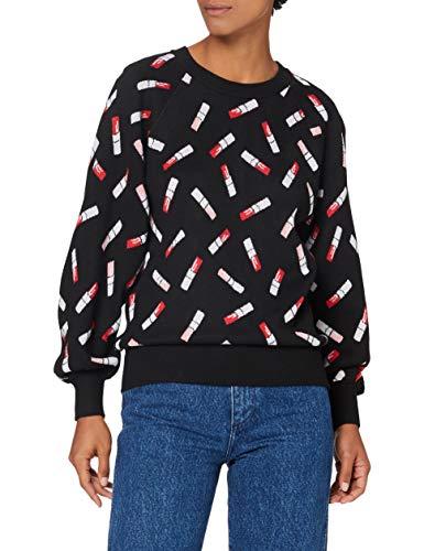 Armani Exchange Womens Knit Pullover Sweater, Black Lipstick Jungle, L