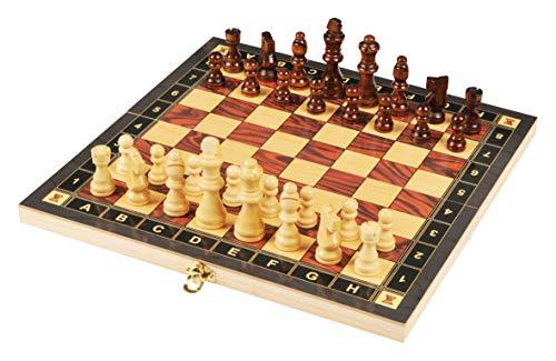 rparty Tablero Madera Ajedrez Magnetico,3 EN 1 Ajedrez y Damas Backgammon en Estuche con portátil de Tablero Plegable para niños y Adultos