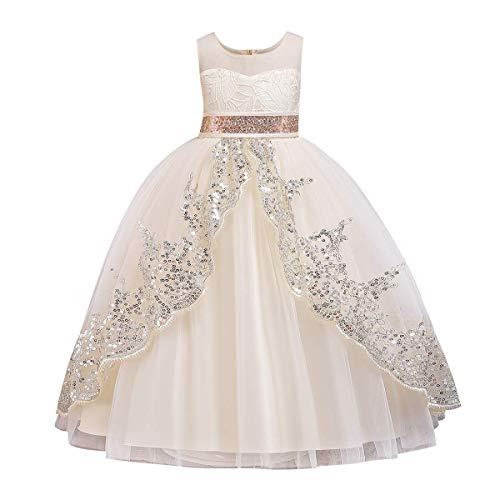 FYMNSI Vestito lungo da sera per bambini, con motivo floreale, in tulle, per damigella d'onore, principessa, senza maniche, con paillettes e paillettes champagne 9-10 Anni