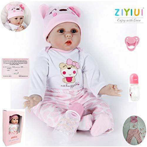 ZIYIUI Lebensechte Reborn Babypuppe Mädchen 22 inch 55 cm Newborn Soft Silikon Spielzeug Puppe Realistische Kind Geburtstagsgeschenk