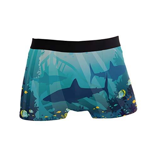 PINLLG Herren-Boxershorts mit blauem Meer und Fisch und Hai, Unterwäsche für Jungen und Jugendliche, aus Polyester und Elastan, atmungsaktiv Gr. L, mehrfarbig