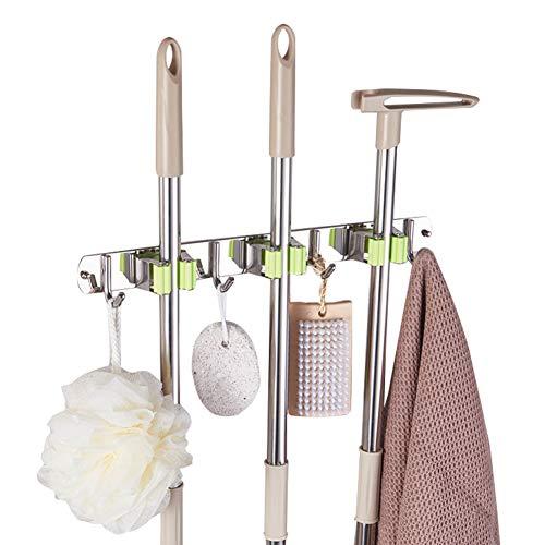 Eidoct - Soporte de pared para escoba, de acero inoxidable, organizador de almacenamiento de pared resistente con 3 estantes y 4 ganchos para cocina, baño, armario, oficina, jardín