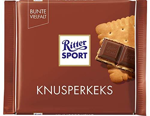 RITTER SPORT Knusperkeks (11 x 100 g), Vollmilchschokolade mit Keks und Milch-Kakao-Creme, Schokolade mit Butterkeks, knusprige Tafelschokolade