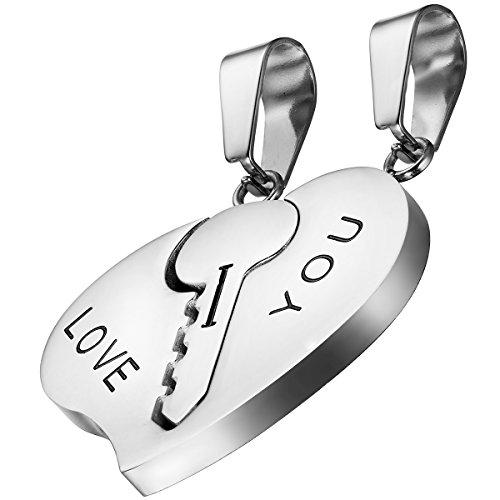 OIDEA 2pcs Amistad Cadenas con Colgante, Acero Inoxidable Llave corazón Puzzle I Love You Grabado Colgante Collares Collar Asociación Cadenas, Plata