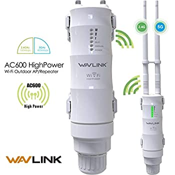 【Upgrade Version】 AC600 Dual Band 2.4+5G 600Mbps Outdoor WiFi Extender 3 in 1 Outside Weatherproof PoE Access Point  AP / Wireless Repeater/Router/Internet Bridge Amplifier Signal Booster