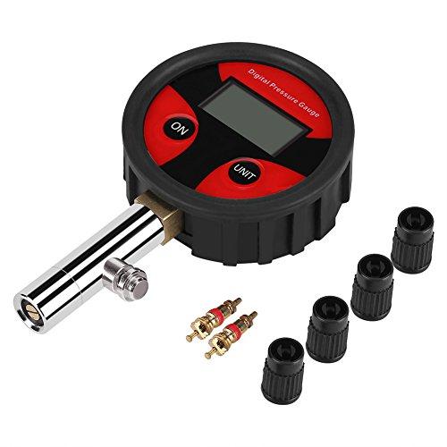Raguso Medidor de presión de neumáticos Digital 0~200PSI con válvula de neumático y Tapas para una fácil Prueba y Lectura