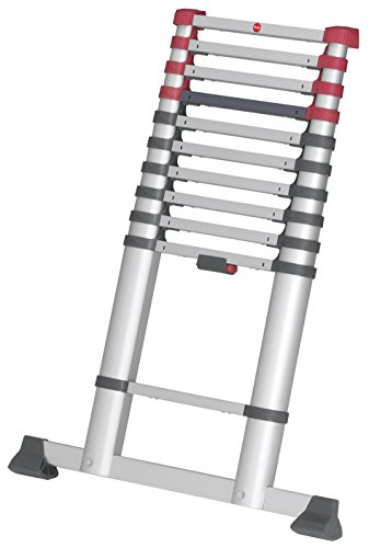 Hailo T80 FlexLine, Alu-Teleskopleiter, 11 Sprossen, Leiternhöhe individuell einstellbar, Klemmschutz, Quertraverse, belastbar bis 150 kg, silber, 7113-111