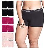 Reebok Women Plus Size Seamless Boyshort Panties Underwear (6 Pack), Size 1X-Large, Space Dye/Wine/Pink/Black