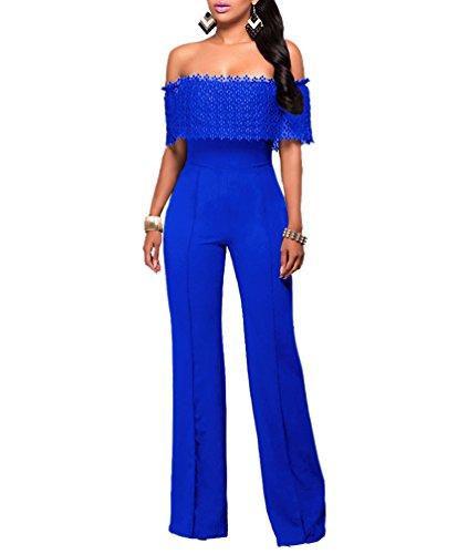 YOUJIA Femmes épaule Off Taille Haute Pantalons Longs Wide Leg Jumpsuits Combinaisons (Bleu, CN XL)