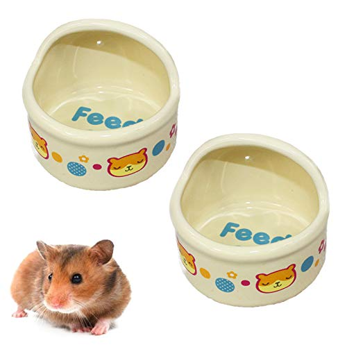 kathson Hamster Feeding Bowl,Ceramic Small Animal Dishes Food and Water Bowl for Small Rodents Gerbil Hamsters Mice Guinea Pig Hedgehog and Other Small...