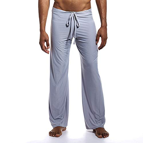 Hombres Pantalones Caseros Pijamas Color Sólido Banda Ancha Pino Hielo Seda Nylon Pantalones De Gran Tamaño Pantalones De Yoga,C-XL