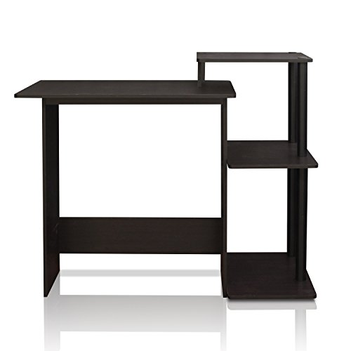 FURINNO 11192EX/BK Efficient Home Laptop Notebook Computer Desk, Square Side Shelves, Espresso/Black