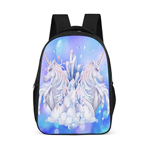 High-Quality Watecolor Unicorn Kids Backpack Mulit Compartments -Unicorn Knapsack for Kindergarten Bright Gray OneSize